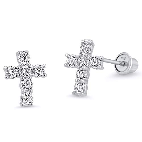 925 Sterling Silver Rhodium Plated Cross Cubic Zirconia Screwback Baby Girls Earrings