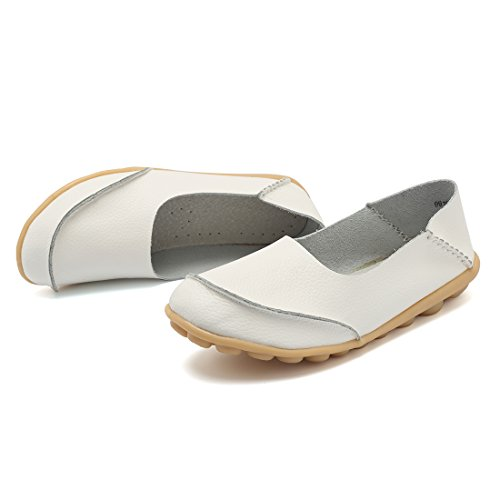 KISFLY Women Casual Flat Sandals - Wide Width Round Toe Leather Walking Driving Slip-on Loafers White Size 9.5
