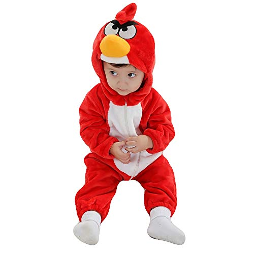 Unisex Baby Romper Winter and Autumn Flannel Jumpsuit Animal Cosplay Outfits(Angry Birds,80cm-(6-12months))