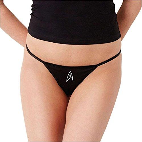 SEXY BABY BUNNY Women's Naughty Thong Panties Fun Undies Star Trek Federation L Black -