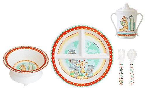 Baby Cie Melamine Plate, Sippy Cup, Bowl, Fork & Spoon, 5 piece set - Imagine The World