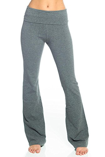 Hard Tail Rolldown Bootleg Flare Pant-Grey-XS Womens Active Workout Yoga Leggings Grey -