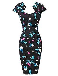 GRACE KARIN Women's 50s Vintage Pencil Dress Cap Sleeve Wiggle Dress