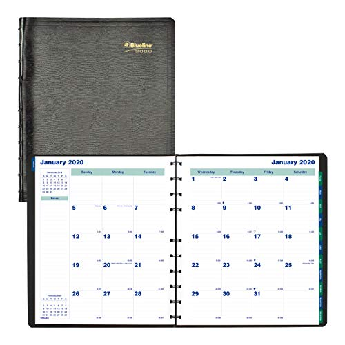 Blueline 2020 MiracleBind Monthly Planner, 17 Months (August 2019 - December 2020), 11 x 9.0625 inches, Black (CF1512.81T-20) (Rediform Monthly Planner)