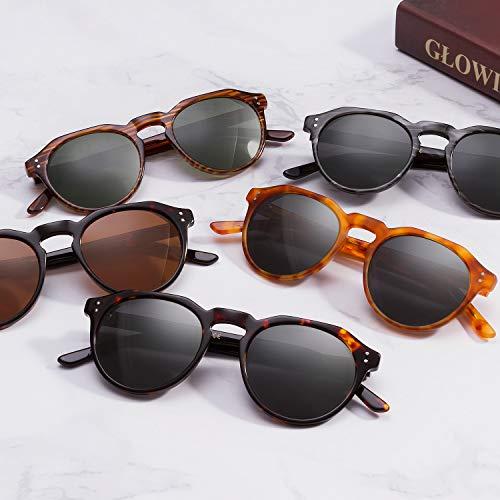 8264b38839 Tacloft Unisex Round Polarized Sunglasses Memory-Acetate Frame Vintage Sun  Glasses For Men Women