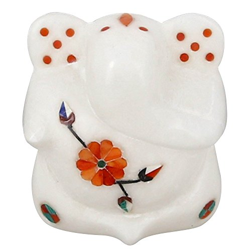 """Indian Handmade White Marble Lord Ganesha Statue - 2.5"""" x 2"""" x 1.25"""" - Perfect for Travel & Gift Giving - Made in India"""