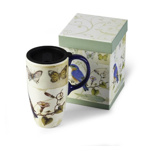 Cypress Latte Travel Mug, Blue Bird & Butterflies 19oz
