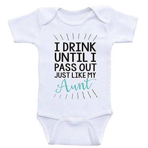 Heart Co Designs Aunt Baby Clothes Drink Until I Pass Out Just Like My Aunt Funny Onesies (3mo-Short Sleeve, Sea Foam Green (Love Drinks)