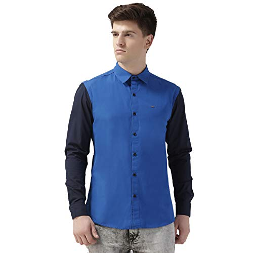 RODID Men #39;s Solid Casual Shirt Deep Blue