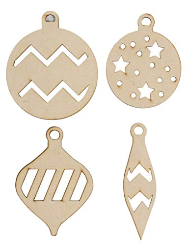Unfinished Wooden Christmas Ornaments - 24-Pack Paintable Blank Xmas Tree Hanging Wood Slices for Kids DIY Art Crafts, Festive Decoration, 4 Assorted Ornament Designs, 4.5 x 1.25 to 4.2 x ()