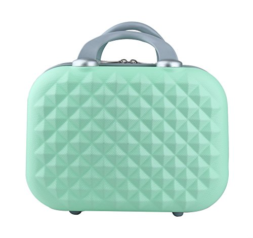Genda 2Archer Small Cosmetic Suitcase Diamond Hard Shell Luggage Vanity Case 14inch (14 Vanity Case)