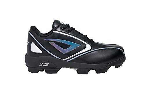 Diamond Softball Cleats - 3N2 Rookie Elite Youth Molded Cleat, Black, Size 5