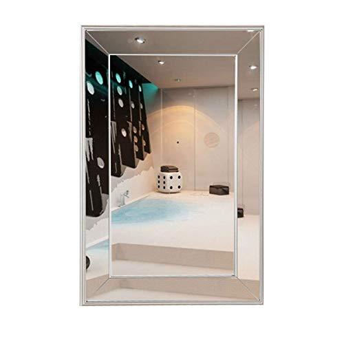 Beveled Vanity Mirror - TANGKULA Wall- Mounted Mirror Bedroom Bathroom Large Flat Framed Wall Mirror w/3 Inch Edge, Beveled Mirror Frame Premium Silver Glass Panel Mirror Rectangle Hangs for Vanity(36