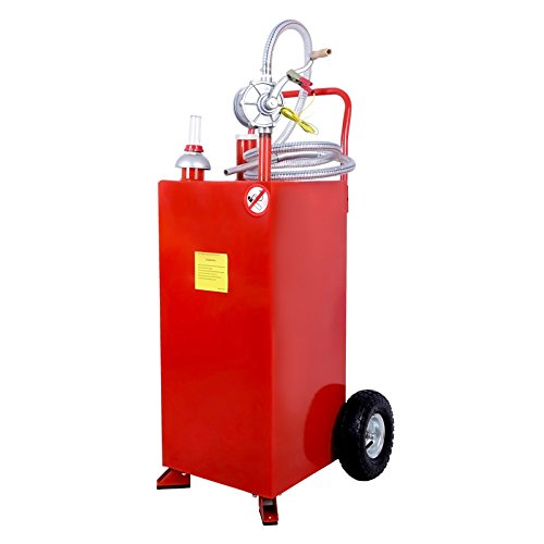 SUNCOO Portable Gas Caddy Tank on Wheels Fuel Storage Gasoline Fluid Diesel with Pump & Hose 30 Gallon Red by SUNCOO