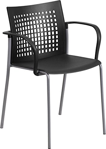Multipurpose Heavy Duty Black Office Side Chair with Air-Vent Back & Arms - Waiting room Chair by Belnick