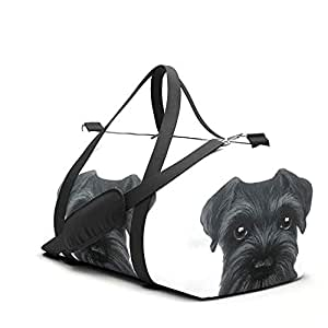 Black Schnauzer, Dog Illustration Original Painting Print Travel Sport Barrel Duffle Bag