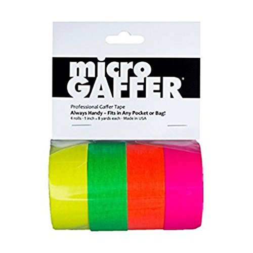 microGAFFER Tape 8 Yards x 1''- Multi Pack of 4 Rolls, Fluorescent Colors (Pink, Yellow, Orange, Green) (MADE IN USA)
