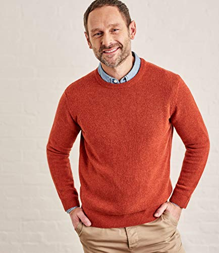 Wool Overs Mens Lambswool Crew Neck Sweater Flame Orange M