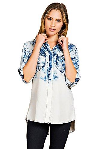 Triple9shop Women's Long Sleeved Shirt (Small, Tie-Dye Denim) Long Sleeved Tie Dye