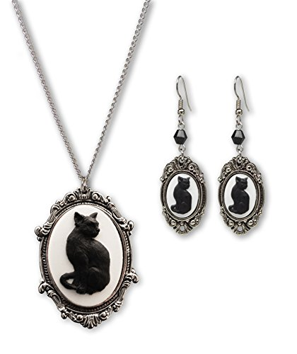 Real Metal Black Cat Cameo Silver Finish Frame Pendant Necklace Dangle Earrings Jewelry Set