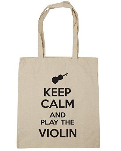 Hippowarehouse Mantieni La Calma E Gioca Al Violin Shopping Bag Borsa Da Spiaggia Da Palestra 42cm X38cm, 10 Litri - Ovviamente, Taglia Unica