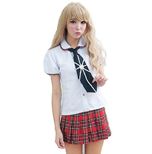 SSJ Japanese High School Girls Cosplay Costume [Black Tie Red Skirts] Lolita Tartan Check (ASIA-M,