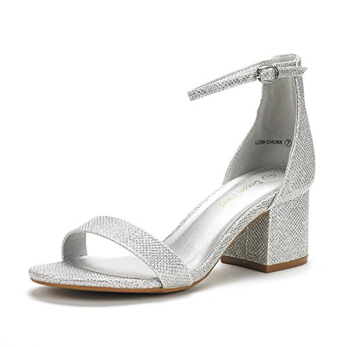 DREAM PAIRS Women's Low-Chunk Silver Glitter Low Heel Pump Sandals - 7 M - Shoes Silver Prom