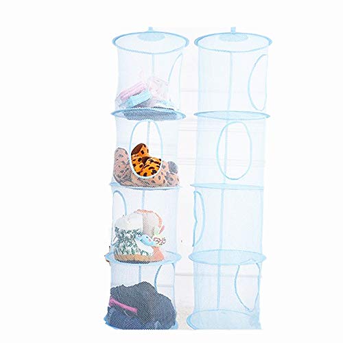 Foldable hanging basket Organize the suspension of storage items, Mesh Hanging Storage with 4 Compartments, while neatly organizing children's toys and stuffed animals,43.5