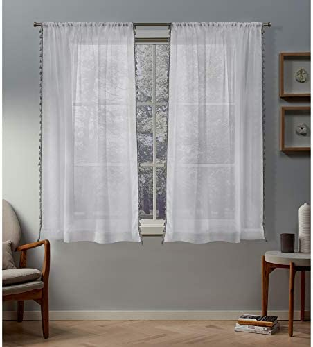 Exclusive Home Curtains Tassels Embellished Sheer Rod Pocket Curtain Panel Pair