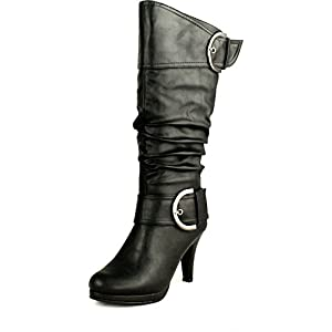 Top Moda Womens Page-22 Knee High Round Toe Buckle Slouched Low Heel Boots,Black,7