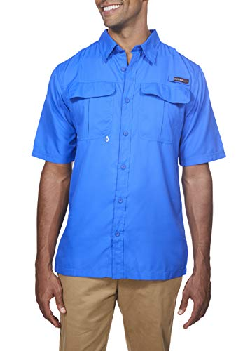 Swiss Alps Mens Short Sleeve Lightweight Breathable Outdoor Fishing Shirt DEEP-Blue Small ()