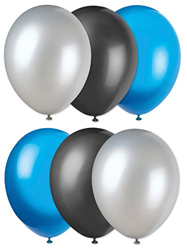 Carolina Panthers Football Solid 6pc Latex Balloons, Blue Silver Black -