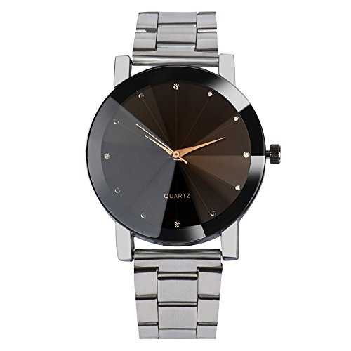 Analog Mechanical Casual Watch - Hot Sale! Charberry Mens Convex Steel Band Watch Crystal Stainless Steel Analog Quartz Wrist Watch (Silver)