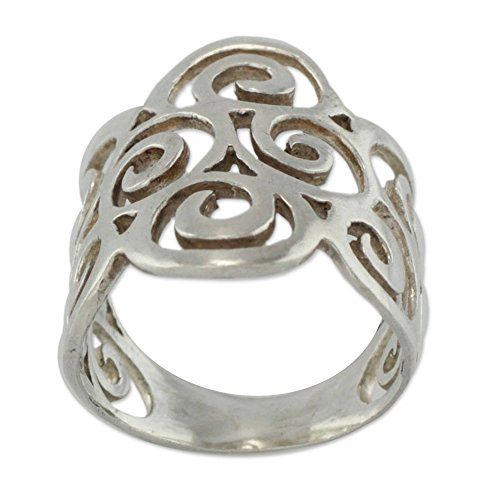 NOVICA .925 Sterling Silver Band Ring, Arabesques'