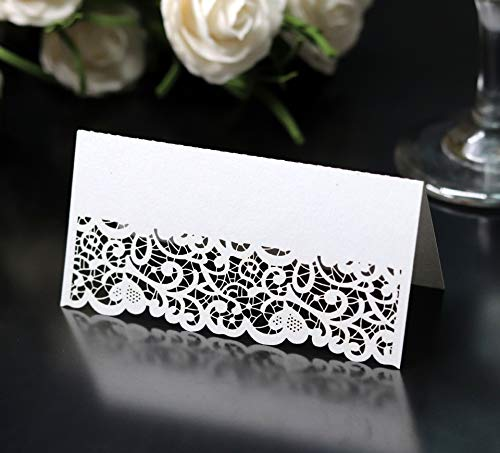 Cozy Villa 25 Pack Table Tent Cards 3.9'' x 3.9'' White Place Name Cards with Laser Cut Border, Perfect for Party and Event