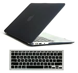 iBenzer® - 2 in 1 Black Soft-Touch Plastic Hard Case Cover & Keyboard Cover for Macbook Air 13'' A1369 & A1466 (Macbook Air 13'', Black)