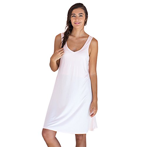 Faceplant Dreams Dreamwear Bamboo V-Neck Nightshirt (Medium, Blush Pink)