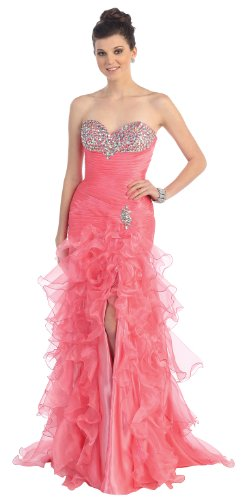 Beaded organza high-low-Coral-16