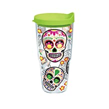 Tervis Colorful Sugar Skull Individual Wrap Tumbler with Lime Lid, 24 oz, Clear