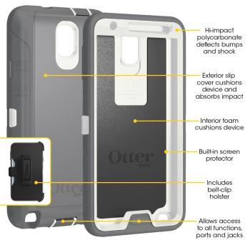premium selection 5e835 0744e OtterBox Defender Series Case for Samsung Galaxy Note 3 - Retail Packaging  - White/Gray