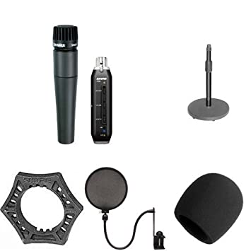 Shure SM57-X2U Microphone Bundle with Desk Stand, Mount, Windscreen, Pop  Filter and Anti-Roll Device