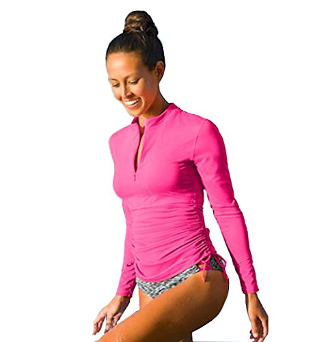 Women's Long Sleeve Rash Guard Wetsuit Swimsuit Top UV Sun Protection (901 L, Rose -