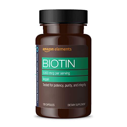 Amazon Elements Vegan Biotin 5000 mcg – Hair, Skin, Nails – 130 Capsules (4 month supply) (Packaging may vary)