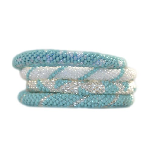 Nuptse Turquoise Blue, Silver and Ivory White Beaded Bracelets Set, BS57 (Crocheted Beaded Bracelets By Lily And Laura)