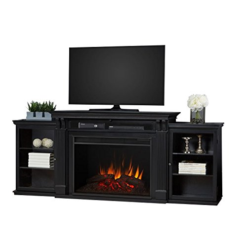 Real Flame 8720E Tracey Grand Entertainment Unit with Electric Fireplace in Black, Large,