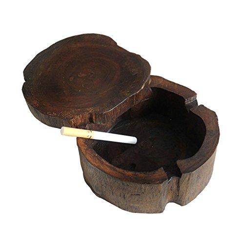 (JRT 10cm - 12cm Diameter Unique Handmade Vintage Original Antique Wooden Cigarette Ashtray Ash Tray,with Winproof Lid Storage Box Tabletop Decoration Cigarette Ash Holder Perfect Gift)
