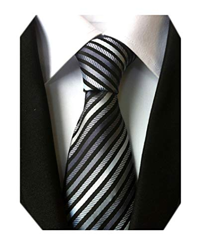 (Secdtie Men's Narrow Stripe Pattern Tie Grey Black White Business Necktie)