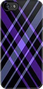 SUUER Purple and Black Diamond Plaid Hard CASE for iPhone 5 5s Durable Case Cover