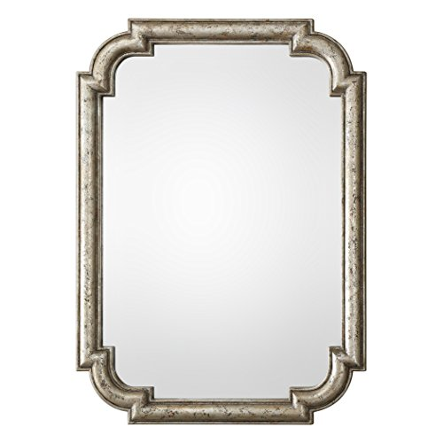 My Swanky Home Distressed Silver Art Deco Shaped Wall Mirror | 45