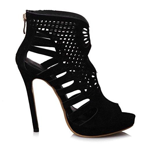 Black Clasico Zanpa Peep Mujer de Zapatos Verano Sandalias Tacon Aguja Toe wq1vqPg